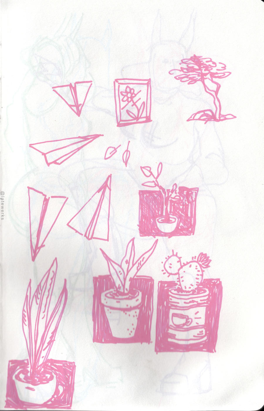 Scibble plants, paper planes